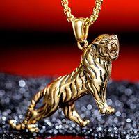 tiger anhänger großhandel-2 Farben Trend Korean Vintage Persönlichkeit Gold / Silber Herrschsüchtig Tiny Tiger Edelstahl Herren Halskette Anhänger Tier Schmuck G874F