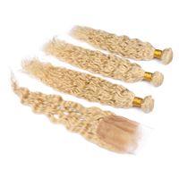 Wholesale blonde human hair weave wavy resale online - Blonde Indian Virgin Wet and Wavy Human Hair Bundles with Closure Water Wave Blonde Virgin Hair Weft Weaves with Lace Closure x4