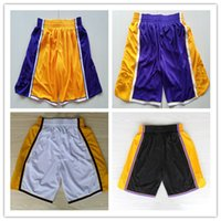 Wholesale elastic balls - new Men Lonzo Ball Short Brandon Ingram Brook Lopez Kyle Kuzma Sport Basketball Pant Team Black Yellow White Purple Color Running Trousers