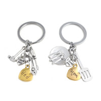 Wholesale hand bag heart for sale - Group buy I Love You mom dad Keychain Heart kitchen Ware Hand Tools Key Chain Key Rings Holder Bag hangs Jewelry Mother Father Gift