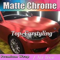 Wholesale Vehicle Vinyl Wrap Red - Dark Red Satin chrome Vinyl Car Wrap Film with air bubble vehicle truck covers Wrapping foil High flexible size 1.52x20m roll 5x67ft