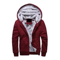 hombres con capucha de piel al por mayor-Cálido Hoodies Men 2018 Winter Plus Velvet Jacket Casual Thick hombres con capucha sudaderas masculinas Warm Fur Liner para hombre Sporting Coat envío gratis