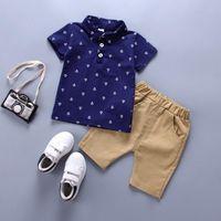 Wholesale White Shits - Summer Baby Boys Clothes Set Cartoon Kids Cotton Lapel T-shit+Palid Shorts Pants 2Pcs Clothes Set