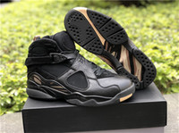 Wholesale Owl Shoes - 2018 Newest 8 OVO Black Gold Man Basketball Shoes Brand OVO Black Owl Authentic Sports Sneakers With Original Box