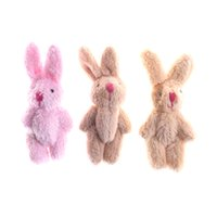 Wholesale plush yellow bunny online - Cute Mini Soft Rabbit Pendant Plush Bunny For Key Chain Bouquet Toy Doll DIY Ornaments Gifts