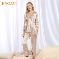 camisón de seda más tamaño al por mayor-Plus Size New Spring Women Silk Satin Pyjamas Pijama Sets 3 Unids Pijamas Camisón Sexy Ropa de dormir Albornoces Vestido de noche STZ301