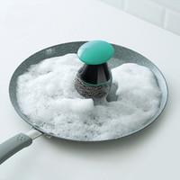 ingrosso pentole in acciaio inox spazzolato-Spazzole per la pulizia Spazzola a sfera in filo di acciaio per cucina Spazzola da cucina per pentole per vaschette Spazzola per piatti in acciaio inox WX9-278
