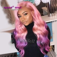 Wholesale two tone purple hair resale online - New Arrival premium Natural Two Tone Pink Ombre Purple Color Hair Wig Synthetic Lace Front Wig with Big Fringe Real Picture Wig
