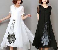 136a306a96d74 Yüksek Kalite 2018 Yeni Bahar Yaz Kadın Iş Elbisesi Mürekkep Baskı Retro  Pamuk Keten Tasarımlar Günlük Elbiseler Ince Beyaz