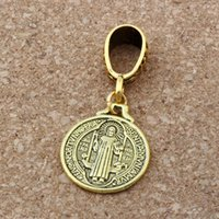 Wholesale Ancient Gold Beads - MIC .100pcs lot Dangle Ancient gold Saint Benedict Medal Religious Charm Big Hole Beads Fit European Charm Bracelet Jewelry 18x40mm A-114a
