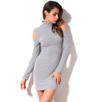 Wholesale Long Slim Dress Elastic - 2018 Autumn Winter Dress Sexy Off Shoulder Club Party Dresses Women Long Sleeve Elastic Slim Casual Bodycon Dress LQM031