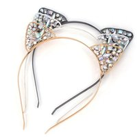 Wholesale metal hair bands - Girls Glitter Hair Hoop Crystal Metal Rhinestone Cat Ear Headband Hairband Costume girl Party Hair Band Accessories