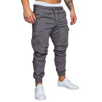 pantalon ample en coton pour hommes achat en gros de-CALOFE Hommes Running Pantalon Fitness Jogger Solide Plus La Taille Pantalon de Survêtement Homme Coton Multi-poches Sportwear Baggy Comfy Pant Joggers