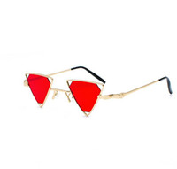 Wholesale Metal Cat Decoration - Triangle small sunglasses hollow out women vintage punk metal frame pink yellow black red sun glasses for men 2018 party decoration