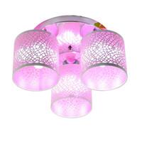 ingrosso luci di ferro rosa-OOVOV Modern Iron Circle Camera da letto Plafoniera Rosa Bianco Giallo Arancione Kid's Room Sala studio Sala da pranzo Lampada da soffitto