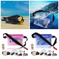 Wholesale fashion drift - Waterproof Waist Bag Transparent PVC Pouch Stitch Underwater Travel 3 Layer Sealed Pocket Outdoors Drift Swimming Pack Waist Belt Bag BBA275