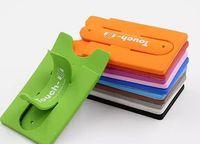 tablet sticker al por mayor-Finger Touch con soporte para ranura de tarjeta Stander Sticker Soporte para montaje de silicona para iPhone Tablet Samsung Mobilephone