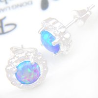 Wholesale Opal Stud Earrings Sterling Silver - 5 Pairs 1 lot Luckyshine Holiday Gift Bright Fire opal 925 Sterling Silver Russia American Australia Wedding Stud Earrings e0299 e0339
