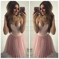 Wholesale short party dresses - 2018 Sexy Sweetheart Pink Homecoming Dresses Sleeveless A Line Tulle Elegant Design Party Dresses Custom Made Simple Cocktail Dresses