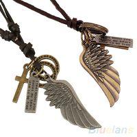 encanto de cuero para hombre collares colgantes al por mayor-Venta enteraAntigua Vintage Angel Wing Mens Collar de cuero encantos colgantes 2KM5