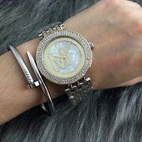 Wholesale new beautiful girls - Fashion Brand beautiful women's Girl crystal Stainless steel band Quartz wrist Watch M44