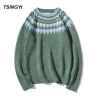 suéteres de navidad de la vendimia de los hombres al por mayor-Tsingyi Pullover Man Christmas Sweater Brand Knitted Cashmere Sweater Hombres Vintage Navidad Beige Green color Snow Mens Sweaters