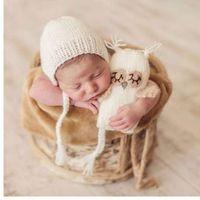 ingrosso ragazze hanno lavorato a maglia la bambola-Puseky Infant baby Knitting Crochet Baby Berretti Hat Kids Toy Doll Girls Boys Toy Set regalo carino Fotografia neonato Puntelli