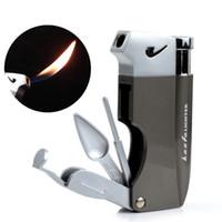 feuerzeuge für rohre groihandel-Kreative Biegung Alle Metall Single regelmäßige Flamme Pfeifenfeuerzeuge Pfeife eingebaute Werkzeuge leichter mit Blue Bird