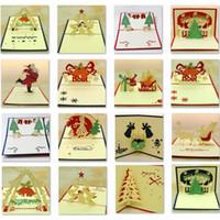 laser de navidad al por mayor-Campana de Navidad creativa Cortar con láser 3D pop-up papel tarjetas postales hechas a mano tarjetas de felicitación personalizadas regalos para la fiesta del amante Regalo de Navidad para niños Amigos