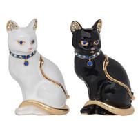 katzenliebhaber geschenk großhandel-Vintage-Stil Schmuck Veranstalter Ring Halter Tier Trinket Schmuckschatulle Miniatur Katze Figur Katze Themen Geschenke für Cat Lover Halskette Dish