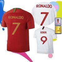 Wholesale Mario Football - 2018 World Cup Ronaldo patch Jersey home away 2019 CARVALHO ANDRE GOMES SILVA J.MOUTINHO MARIO QRESMA Portugal Customized football uniform