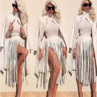 vestido de flecos boho al por mayor-Hippie Boho Fringe Tassel Black Faux Leather Long Tassels Dress Cinturones de mujer Falda Sexy Cintura Alta Mujeres Lon Nightclub Fashion 25 2zy bb