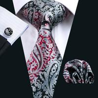 hombres dos pajaritas de tono al por mayor-Gemelos de pañuelo negro de moda caliente Jacquard tejido clásico negocio formal trabajo corbata conjunto corbatas de seda paisely set para hombres al por mayor