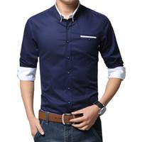 f374c97c3ec Men Casual Business Shirt Long Sleeve Korean Style Solid Color Cotton Mens  Shirt Turn Down Collar Shirt For Men