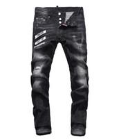 джинсы оптовых-Европейские мужские джинсы, мужские джинсы, джинсы и черные вышитые черепа # 041