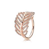 925 anel de pena de prata venda por atacado-925 prata esterlina anéis de penas com Limpar CZ diamante caber Pandora estilo da jóia por Mulheres Rosa de Ouro 18K cristal anel de casamento