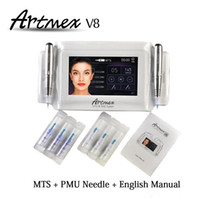 Wholesale digital permanent makeup tattoo - Permanent Makeup machine digital Artmex V8 touch Tattoo Machine set Eye Brow Lip Rotary Pen MTS System tattoo pen