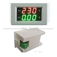dijital gösterge volt'u amper toptan satış-Freeshipping AC 300 V 100A LED voltmetre ampermetre AC dijital çift ekran Volt Amp test Metre 110 v 220 v 120 v 240 v Gerilim akım