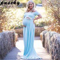 ingrosso manica di tiro blu-Abito da maternità Puseky per scatti in barca Abito da maternità in cotone con maniche corte in cotone elasticizzato