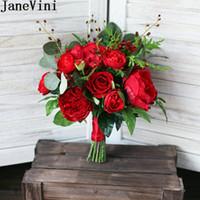 ingrosso bouquet di nozze di peonia rossa-JaneVini Vintage Red Bridal Bouquet Peony Rose 2018 Sposa Bouquet da sposa Bouquet da sposa in seta titolari Bouquet da sposa Ramo De Novia Rojo