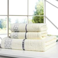 sarong à la crème achat en gros de-Gros-luxe 100 serviettes de bain en coton ensembles pour adultes 1 pc 70 * 140 cm serviette de bain 2 pcs 33 * 75 cm visage serviettes de bain serviette ensembles Livraison gratuite