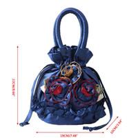 Wholesale silk small cell phone purse resale online - THINKTHENDO New Women Embroidered Flower Silk Satin Purse Coin Wallet Gift Small Handbag Bag Drawstring Open Shoulder Bag