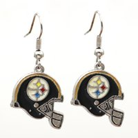 Wholesale silver earrings - Latest Design American Football Team Sports Earrings Europe and America Charm Fashion Jewelry