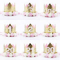 Wholesale wholesale crown decor - Happy First Birthday Party Hats Decor Cap One Birthday Hat Princess Crown 1st 2nd 3rd Year Old Number Baby Kids Hair Accessory adults