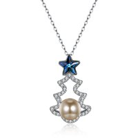 ingrosso alberi di natale di sterline-2018 high quality Christmas tree pendant Swarovski S925 sterling silver hot style star crystal fashion jewelry for girlfreind