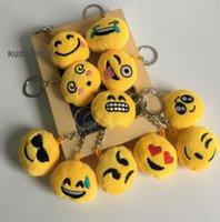 ingrosso simpatici disegni anello chiave-1 pezzo in ordine casuale, mini 3CM ca. simpatico peluche Emoji farcito, catena portachiavi peluche regalo giocattoli