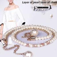 accesorios del vientre cadenas al por mayor-Feimu del todo fósforo cadena del vientre de la perla de las mujeres de cristal diamante delgado cinturón de una sola pieza vestido de accesorios accesorios de la correa