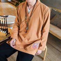 bordados vestidos de linho chinês venda por atacado-Novo revestimento dos homens, Chinês Vento Bordado Curto Desgaste, Chinês Retro Han vestido, Daoist vestido de Linho dos homens blusão curto