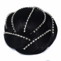 accesorios para el cabello clips de diamantes al por mayor-Sara Glittering Diamond Chignon Señora Mujeres Clip en la extensión del bollo del pelo Updo Accesorios para el cabello 12 * 5 CM