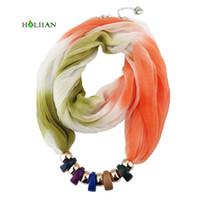 Wholesale scarf slides pendants - Fashion women scarf necklace beads pendent jewelry wrap bandana ethnic foulard lic fall female accessories Hot multicolors new